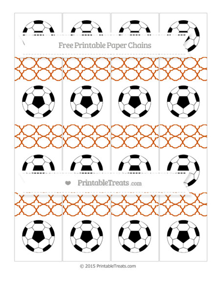Free Burnt Orange Quatrefoil Pattern Soccer Paper Chains