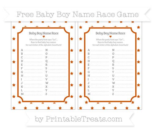 Free Burnt Orange Star Pattern Baby Boy Name Race Game