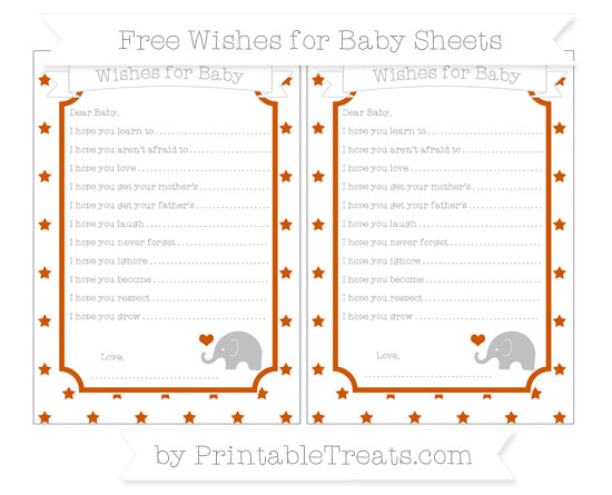 Free Burnt Orange Star Pattern Baby Elephant Wishes for Baby Sheets