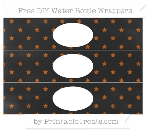 Free Burnt Orange Star Pattern Chalk Style DIY Water Bottle Wrappers