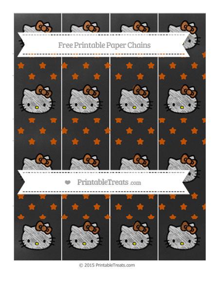 Free Burnt Orange Star Pattern Chalk Style Hello Kitty Paper Chains