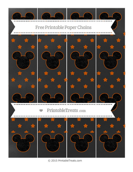 Free Burnt Orange Star Pattern Chalk Style Mickey Mouse Paper Chains