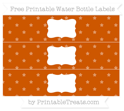 Free Burnt Orange Star Pattern Water Bottle Labels