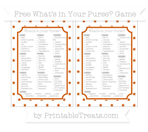 Free Burnt Orange Star Pattern What's in Your Purse Baby Shower Game