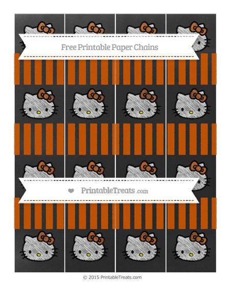 Free Burnt Orange Striped Chalk Style Hello Kitty Paper Chains