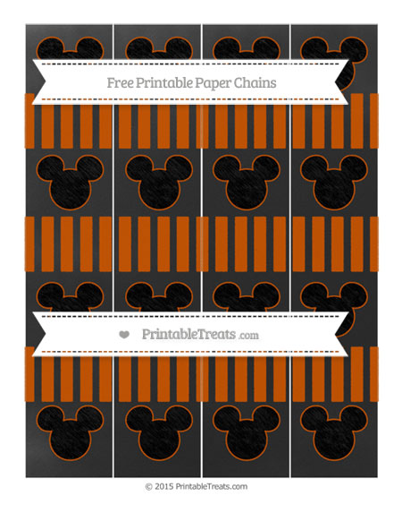 Free Burnt Orange Striped Chalk Style Mickey Mouse Paper Chains