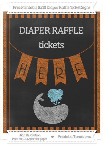 Free Burnt Orange Striped Chalk Style Whale 8x10 Diaper Raffle Ticket Sign