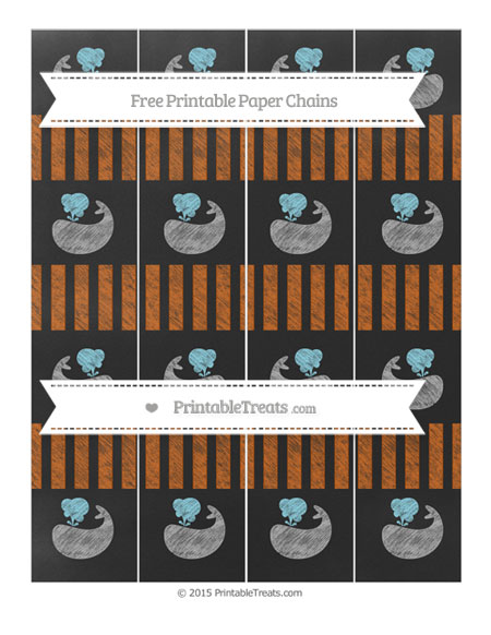 Free Burnt Orange Striped Chalk Style Whale Paper Chains