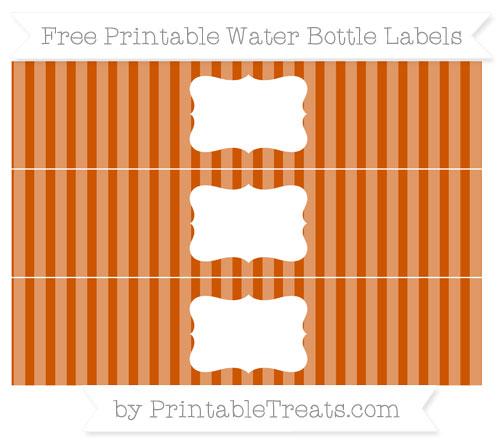 Free Burnt Orange Striped Water Bottle Labels