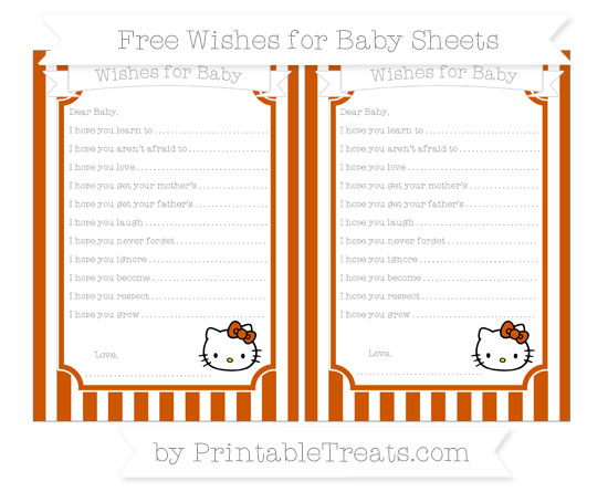 Free Burnt Orange Striped Hello Kitty Wishes for Baby Sheets