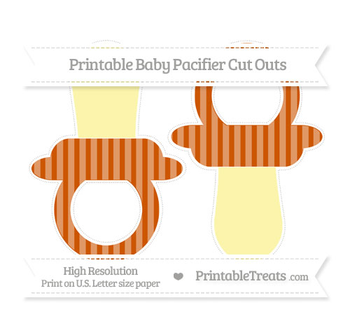 Free Burnt Orange Striped Large Baby Pacifier Cut Outs
