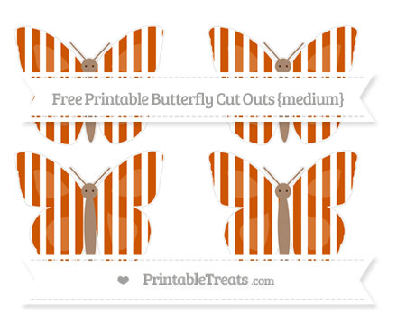 Free Burnt Orange Striped Medium Butterfly Cut Outs