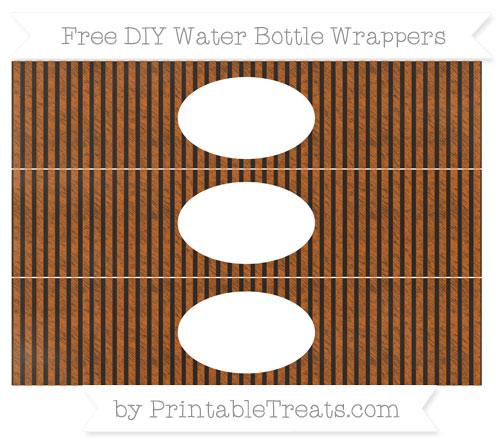 Free Burnt Orange Thin Striped Pattern Chalk Style DIY Water Bottle Wrappers