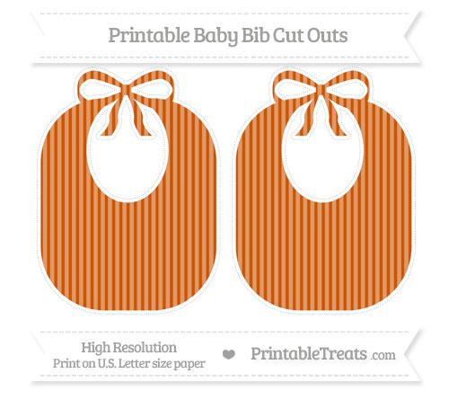 Free Burnt Orange Thin Striped Pattern Large Baby Bib Cut Outs