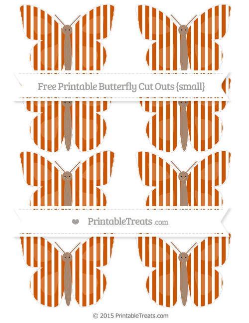 Free Burnt Orange Thin Striped Pattern Small Butterfly Cut Outs