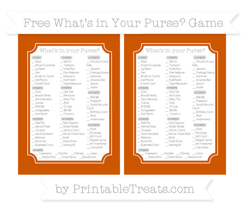 Free Burnt Orange What's in Your Purse Baby Shower Game