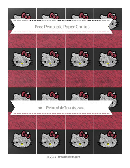 Free Cardinal Red Chalk Style Hello Kitty Paper Chains