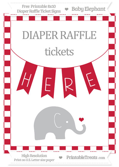 Free Cardinal Red Checker Pattern Baby Elephant 8x10 Diaper Raffle Ticket Sign