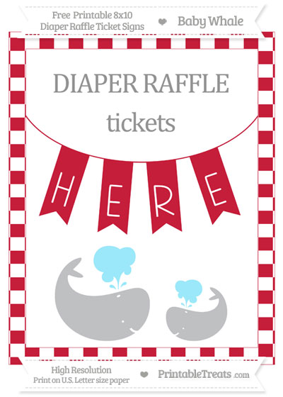 Free Cardinal Red Checker Pattern Baby Whale 8x10 Diaper Raffle Ticket Sign