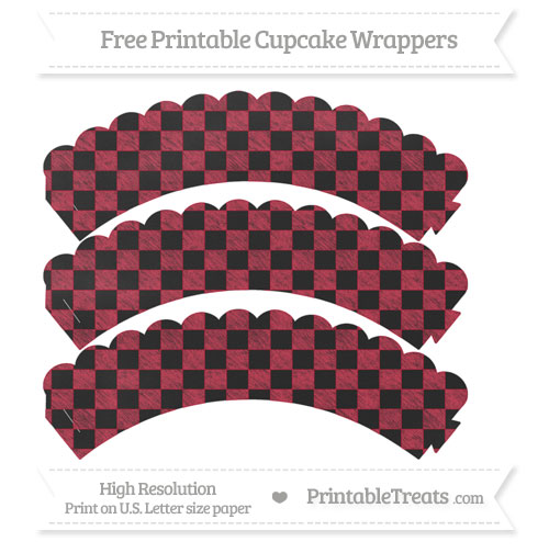 Free Cardinal Red Checker Pattern Chalk Style Scalloped Cupcake Wrappers