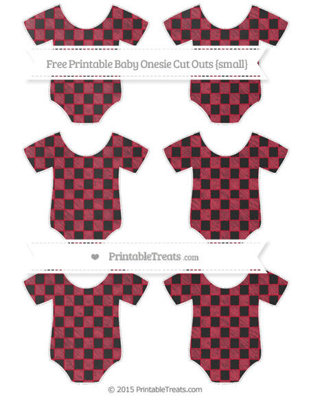 Free Cardinal Red Checker Pattern Chalk Style Small Baby Onesie Cut Outs