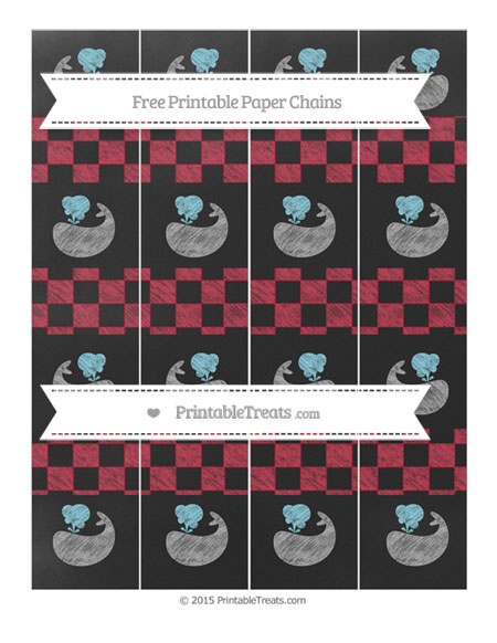 Free Cardinal Red Checker Pattern Chalk Style Whale Paper Chains