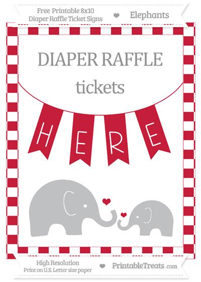 Free Cardinal Red Checker Pattern Elephant 8x10 Diaper Raffle Ticket Sign