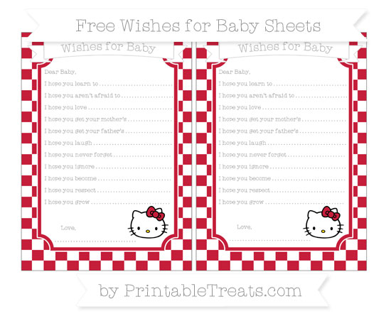 Free Cardinal Red Checker Pattern Hello Kitty Wishes for Baby Sheets