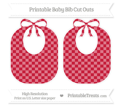 Free Cardinal Red Checker Pattern Large Baby Bib Cut Outs