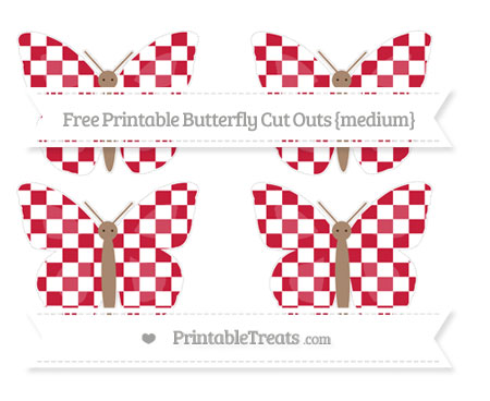 Free Cardinal Red Checker Pattern Medium Butterfly Cut Outs