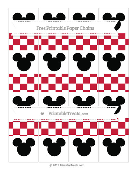 Free Cardinal Red Checker Pattern Mickey Mouse Paper Chains