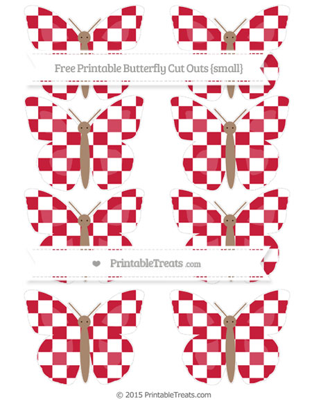 Free Cardinal Red Checker Pattern Small Butterfly Cut Outs