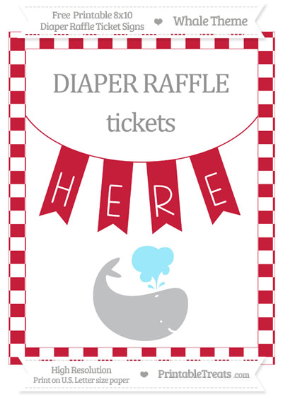 Free Cardinal Red Checker Pattern Whale 8x10 Diaper Raffle Ticket Sign