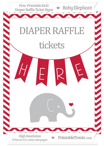 Free Cardinal Red Chevron Baby Elephant 8x10 Diaper Raffle Ticket Sign