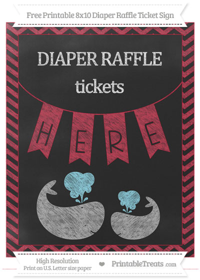 Free Cardinal Red Chevron Chalk Style Baby Whale 8x10 Diaper Raffle Ticket Sign