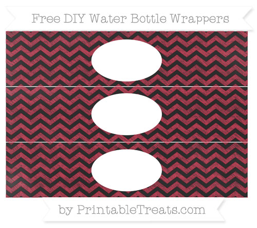 Free Cardinal Red Chevron Chalk Style DIY Water Bottle Wrappers