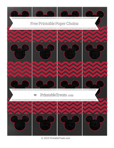 Free Cardinal Red Chevron Chalk Style Mickey Mouse Paper Chains
