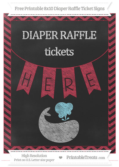 Free Cardinal Red Chevron Chalk Style Whale 8x10 Diaper Raffle Ticket Sign
