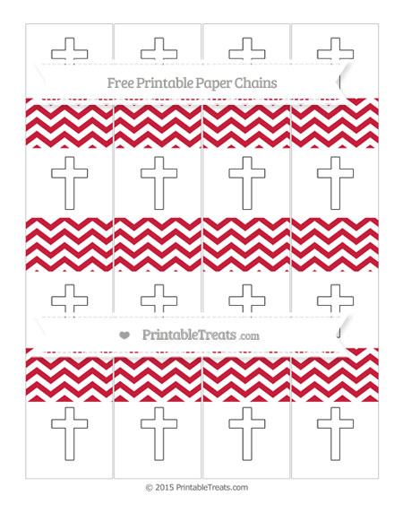 Free Cardinal Red Chevron Cross Paper Chains