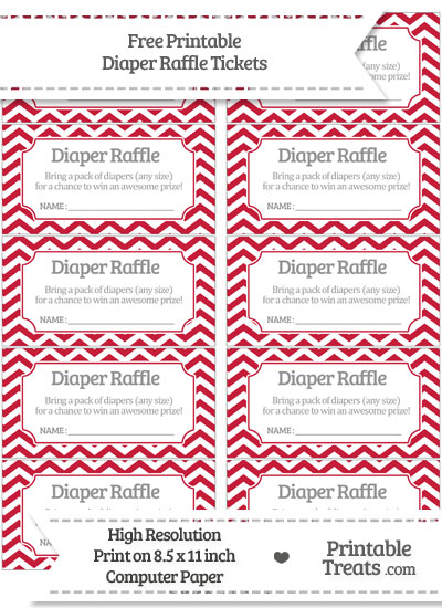 Free Cardinal Red Chevron Diaper Raffle Tickets
