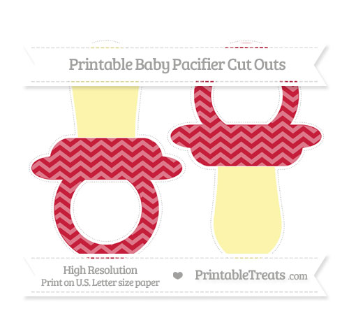 Free Cardinal Red Chevron Large Baby Pacifier Cut Outs