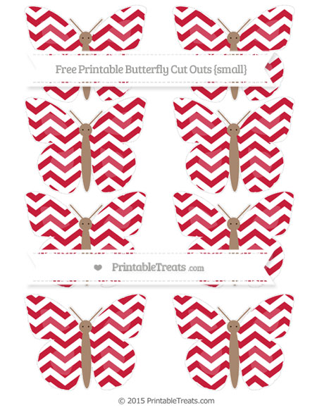 Free Cardinal Red Chevron Small Butterfly Cut Outs