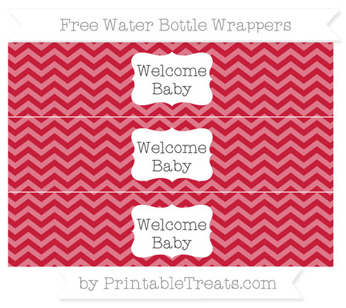 Free Cardinal Red Chevron Welcome Baby Water Bottle Wrappers