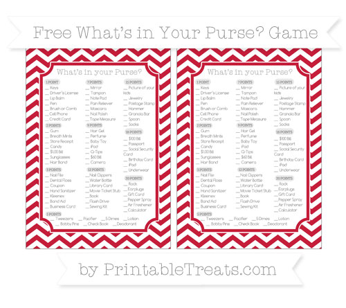 Free Cardinal Red Chevron What's in Your Purse Baby Shower Game