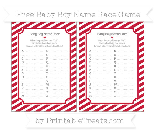 Free Cardinal Red Diagonal Striped Baby Boy Name Race Game