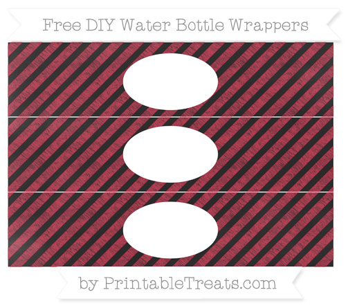 Free Cardinal Red Diagonal Striped Chalk Style DIY Water Bottle Wrappers