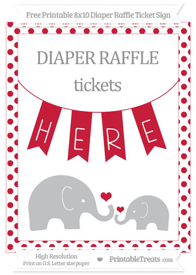 Free Cardinal Red Dotted Elephant 8x10 Diaper Raffle Ticket Sign