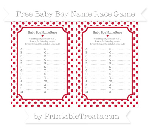 Free Cardinal Red Dotted Pattern Baby Boy Name Race Game