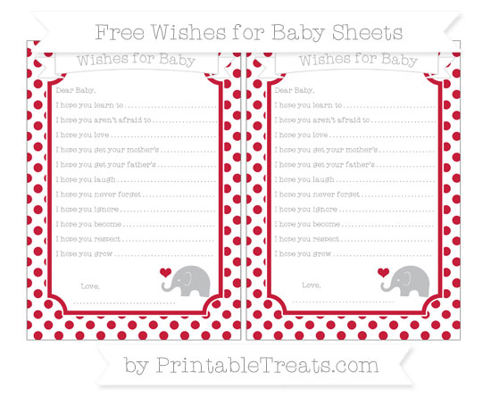 Free Cardinal Red Dotted Pattern Baby Elephant Wishes for Baby Sheets