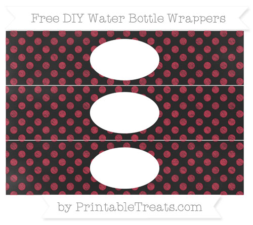 Free Cardinal Red Dotted Pattern Chalk Style DIY Water Bottle Wrappers